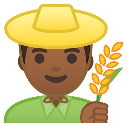 Man farmer medium dark skin tone icon
