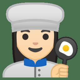 Woman cook light skin tone icon