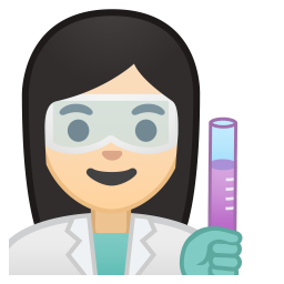 Woman scientist light skin tone icon