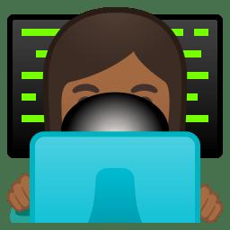 Woman technologist medium dark skin tone icon
