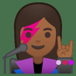 Woman singer medium dark skin tone icon