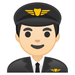 Man pilot light skin tone icon