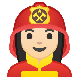 Woman firefighter light skin tone icon
