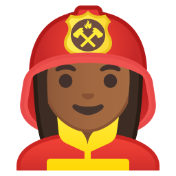 Woman firefighter medium dark skin tone icon
