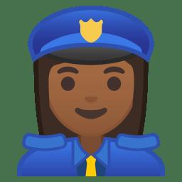 Woman police officer medium dark skin tone icon