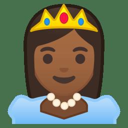 Princess medium dark skin tone icon