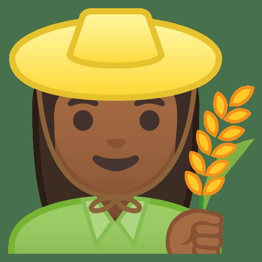 Woman farmer medium dark skin tone icon