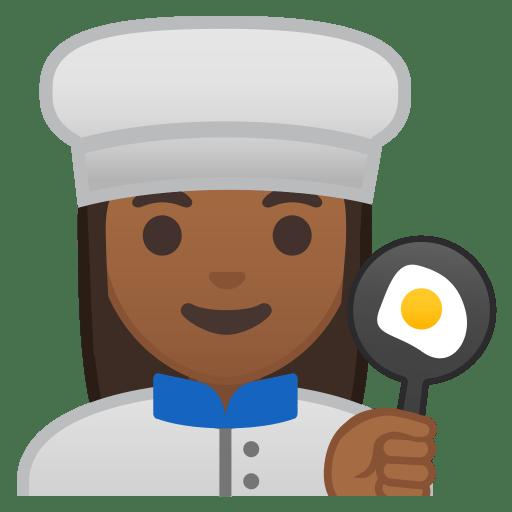 Woman cook medium dark skin tone icon
