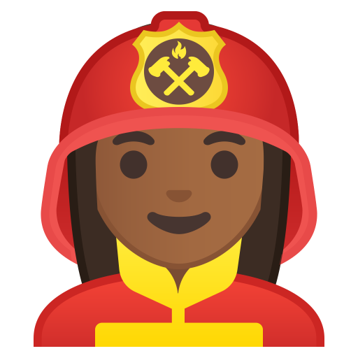 Woman firefighter medium dark skin tone icon