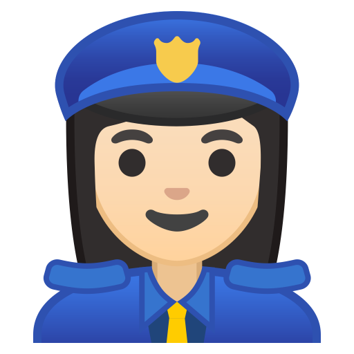Woman police officer light skin tone icon