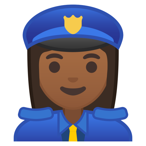 Woman police officer medium dark skin tone icon