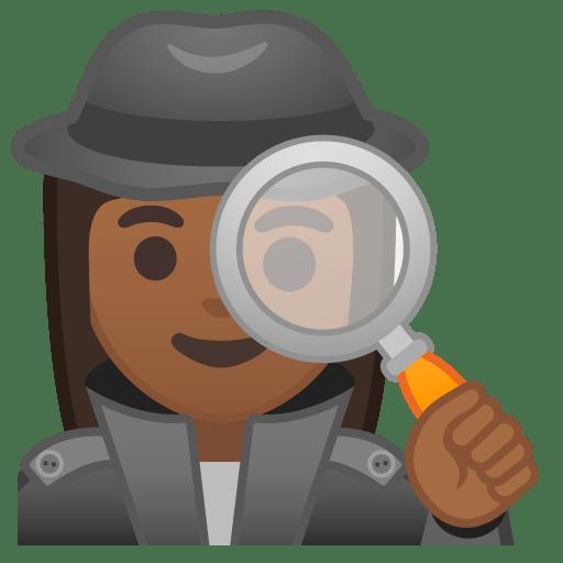 Woman detective medium dark skin tone icon