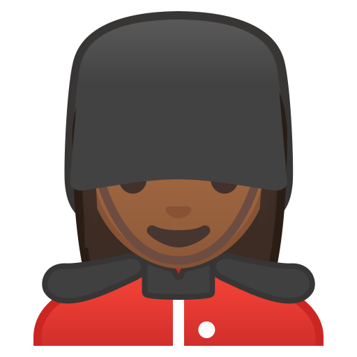 Woman guard medium dark skin tone icon