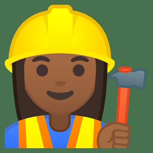 Woman construction worker medium dark skin tone icon