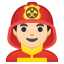 Man firefighter light skin tone icon