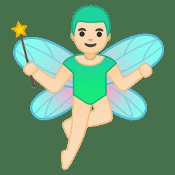 Man fairy light skin tone icon
