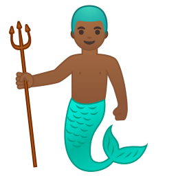Merman medium dark skin tone icon