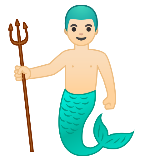 10886-merman-light-skin-tone icon