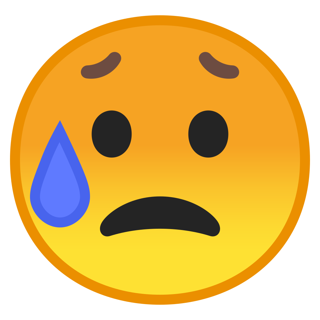 Sad but relieved face Icon | Noto Emoji Smileys Iconset | Google