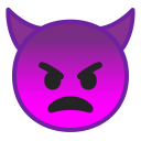 Angry face with horns icon