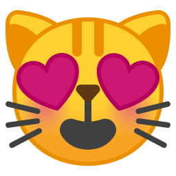 Smiling cat face with heart eyes icon