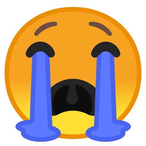 Loudly crying face icon