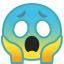 Face screaming in fear icon