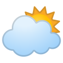 Sun behind large cloud icon