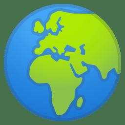 Globe showing Europe Africa icon
