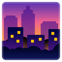 Cityscape at dusk icon