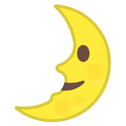 First quarter moon face icon