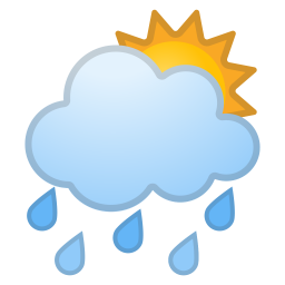 Sun behind rain cloud icon
