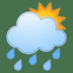 Sun behind rain cloud icon