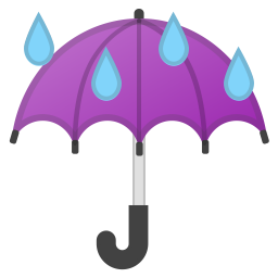 Umbrella with rain drops icon