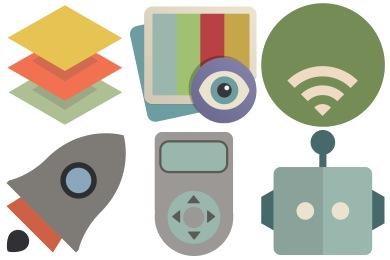 Flat Retro Modern 2 Icons