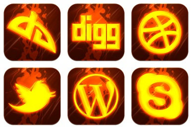 Hot Burning Social Icons