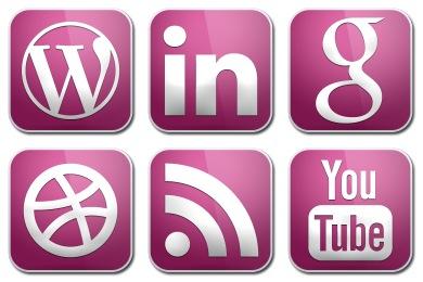 Purple Glossy Social Icons