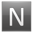 Letter N grey icon