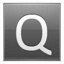 Letter Q grey icon