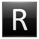Letter R black icon