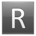 Letter R grey icon