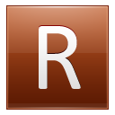 Letter R orange icon