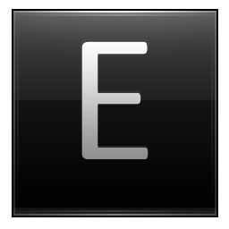 Letter E black icon