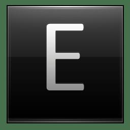 Letter E black icon