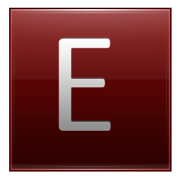 Letter E red icon
