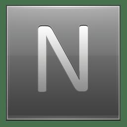 Letter N grey icon