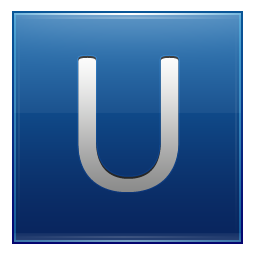 Letter U blue icon