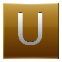Letter U gold icon