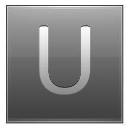 Letter U grey icon