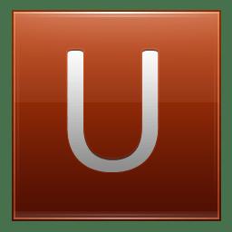 Letter U orange icon